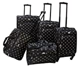 American Flyer Fleur De Lis 5-Piece Spinner Luggage Set, Black, One Size For Sale