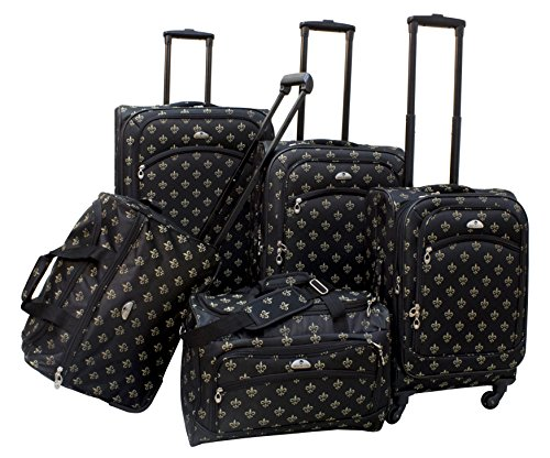 American Flyer Fleur De Lis 5-Piece Spinner Luggage Set, Black, One Size