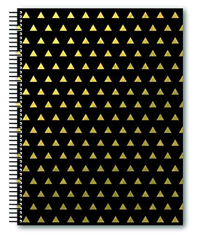 """Miquelrius Large 4 Subject Wirebound Notebook - Golden Black Triangles, Hardcover, (140 Sheets(280 Pages, Lined), 8.5"""" x 11"""" (Black)"""