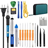 Image of Soldering Iron Kit,Including 60W Temperature Control Soldering Iron,Tips,Solder Sucker,Tin Wire Tube, Anti-static Tweezers,Wire Stripper Cutter,Aid Tools and Pry Tools for iPhone in PU Carry Bag