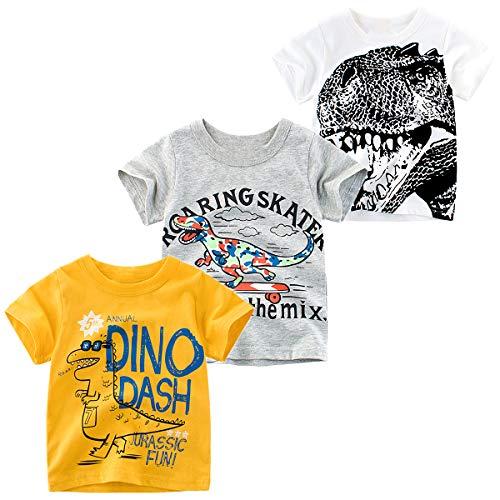 (Nuziku Toddler Boy Clothes 3-Pack Dinosaur Short Sleeve Crewneck T-Shirts Top Tee Size 2-6 (Dinosaur, 2T))