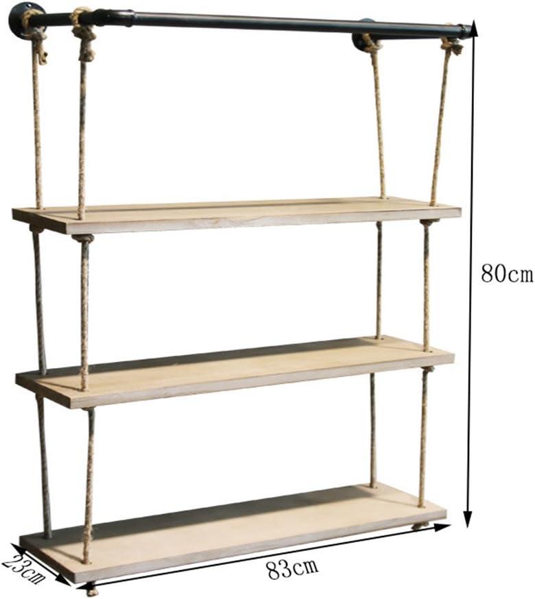 CRS-ZBBZ Mensole da Muro Mensola a Muro in Legno massello con mensole in Corda di Canapa Appendiabiti a Muro per Balcone Come scaffale di stoccaggio Decorazioni Dimensioni : 58 * 23 * 80cm