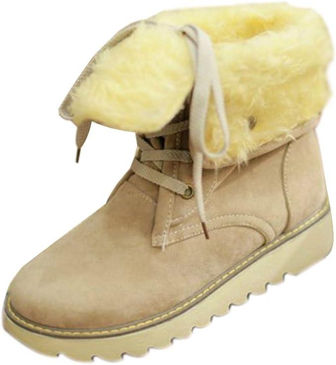 Minetom Damen Stiefeletten Matte Stiefel Schnee Winter Fur k2REH
