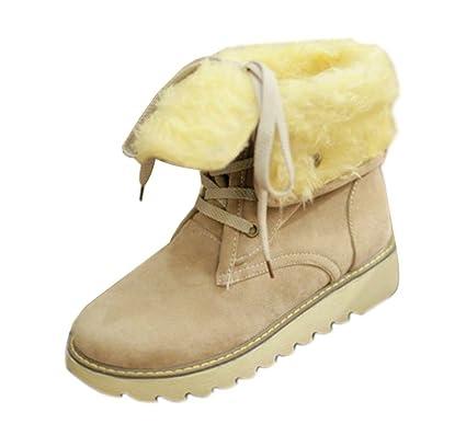Minetom Femme Hiver Chaudes Bottes De Neige Fourrées Cheville Matte En Daim Chaussures Snow Boot