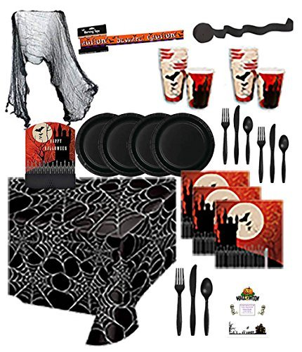 Halloween Party Supplies Kit Premium Sturdy Disposable Dinnerware Frightful Night Napkins Plates Cups Cutlery Table covers Streamer Creepy Cloth Warning Tape Idea Guide Bundle Serves 16 (183 Pieces) -