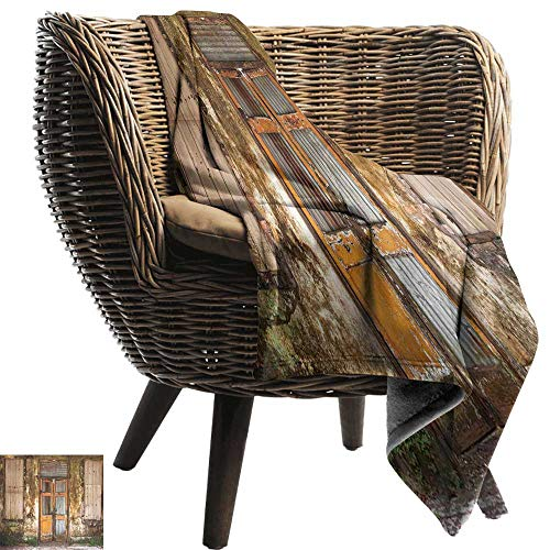 Travel Blanket Rustic Damaged Shabby House with Boarded Up and Rusty Doors and Moldy Windows Photography Lightweight Bed or Couch Blanket 91