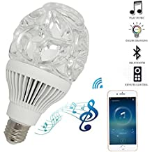 LED Bluetooth Light Bulb Speaker, E27 White and RGB Color Changing Intelligent Night Lights Bulbs with Remote Control for Home, Party-1PK