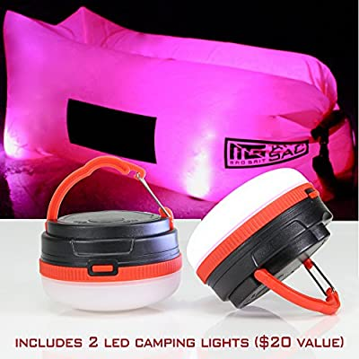 Best Inflatable Sofa Best Air Lounger - Pool Float Lounge Chair - Lazy Hangout Bag - Water Proof Air Hammock - Includes: 2 LED Camping Lights, 3 Pockets & Bottle Opener.