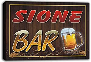 scw3-103091 SIONE Name Home Bar Pub Beer Mugs Cheers Stretched Canvas Print Sign