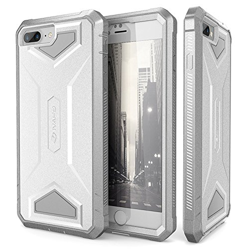 iPhone 8 Plus Case, iVAPO iPhone 7 Plus Case [Armor Series] Impact Resistant iPhone 8 Plus Cover Full-body Protection iPhone Case with Built-in Screen Protector for Apple iPhone 8 Plus [White/Gray]