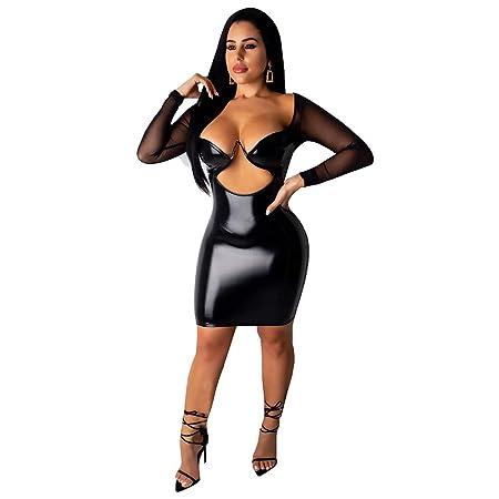 EVR Vestido de Cuero, Mujer Vestido de Charol Sexy Vestido de Club ...