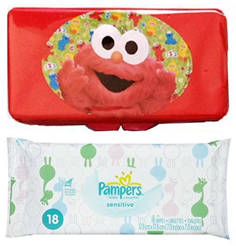 Pampers Sensitive Baby Wipes Pack 18 ct + Bonus Sesame Street Red Elmo Flip Top Travel Case Bundle