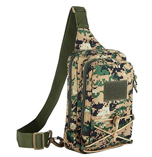 Hombres Camuflaje Al Aire Libre Casual Hombro Messenger Bag Breastplate Mochila Messenger Bag Regalo De Navidad Green1