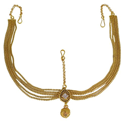 Costume Indian Bridal Jewelry (Banithani Traditional Bollywood Goldtone Matha Patti Bridal Forehead Jewelry Gift For Her)