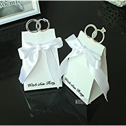 Joinwin® 50 pcs White Diamond Ring Style Wedding Favor Boxes Gift Box Candy Box