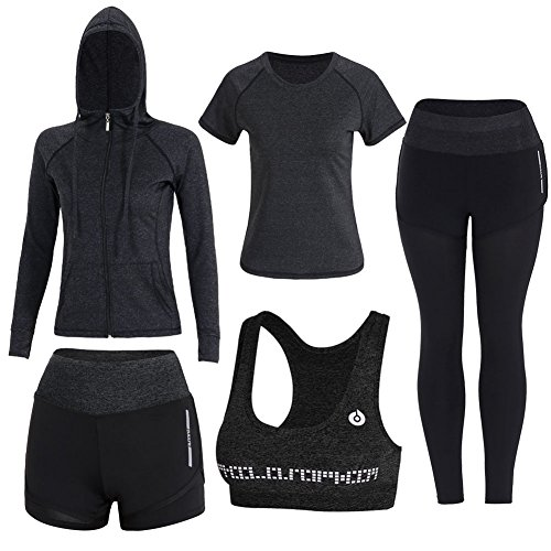 - Onlyso Women's 5pcs Sport Suits Fitness Yoga Running Athletic Tracksuits (M, Black)