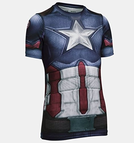 Under Armour Kids Boy's Captain America Suit Short Sleeve (Big Kids) Midnight Navy Shirt
