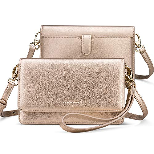 nuoku Women Small Crossbody Bag Cellphone Purse Wallet with RFID Card Slots 2 Strap Wristlet(Max 6.5'')(Gold)