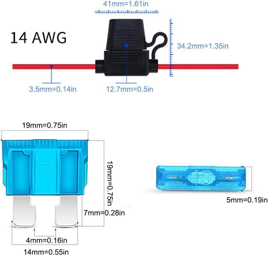 6-teiliges wasserdichtes ATC//ATO 14AWG-Kabelbaum-Auto-Blade-Sicherung M Bst4UDirect 100-teiliges Auto-Auto-Standard-Blade-Sicherungs-Ersatzkit Halter f/ür Standard-Autosicherungen