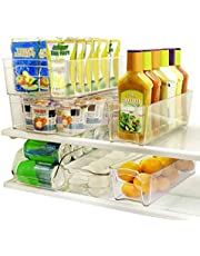 SortWise 6-Piece Acrylic Refrigerator Storage Container Bins Fridge Bins and Freezer Organizer Stackable Storage Containers - 1* Egg Holder, 1* Soda Can Holder, 2* Wide Drawers, 2* Narrow Drawers, BPA- Free, Clear View, Easy Access