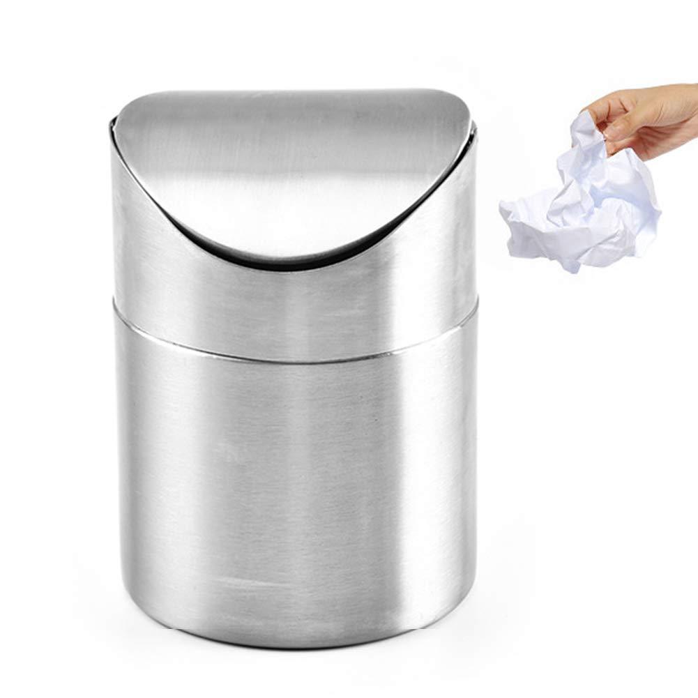 Bandeja de Basura Papelera de Escritorio Silver SADA72 Tama/ño Libre 1.5 L // 0.40 GAL Tapa de Onda Mini Papelera Tapa basculante de Acero Inoxidable