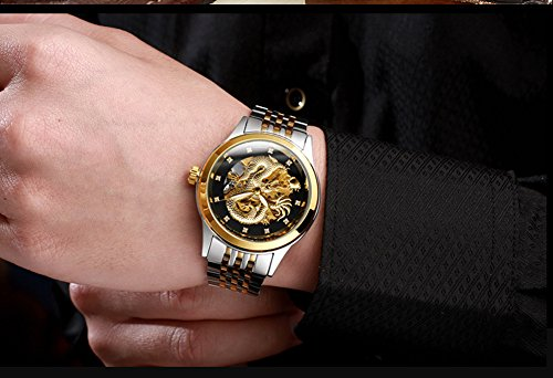 KDJSTORE Luxury Men's Skeleton Automatic Mechanical Wrist Watch Dragon Stainless Steel Band (Silver Gold Band)