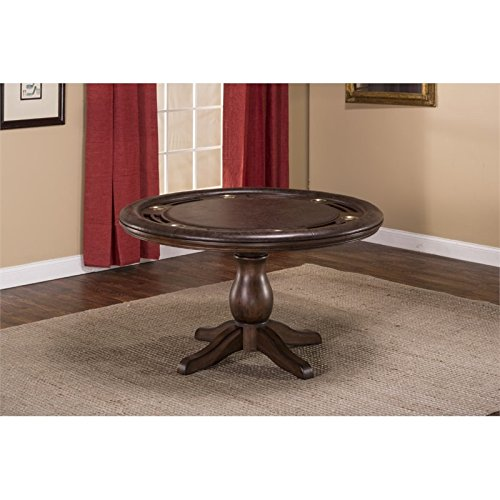 """Hillsdale Furniture 6240GTB Chiswick 54"""" Game Table with Cup Holder and Seating for Four in Brown Cherry Faux Leather"""