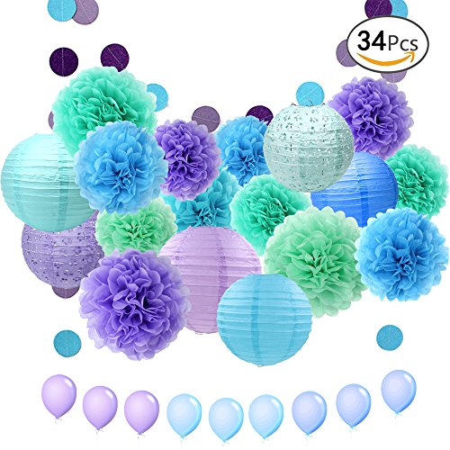 Balloon Paper Lantern (APLANET 34pcs Paper Flower Pom Pom and Paper Lantern, Polka Dot Paper Garland, Balloon for Party, Celebration, Nautical Themed Ball)