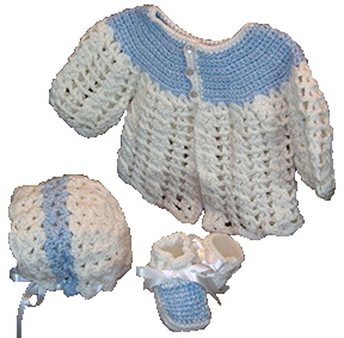 Sweater With Matching Hat & Booties - Handmade - Size 0-6 Months (Blue & White)