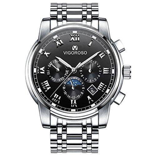 VIGOROSO Men's Business Quartz Analog Date Waterproof Luxury Stainless Steel Wrist Watch(Black)