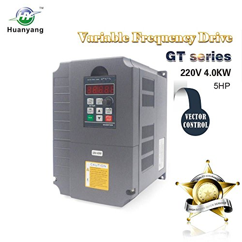 Vector Control CNC VFD Variable Frequency Drive Controller Inverter Converter 220V 4KW 5HP For Spindle Motor Speed Control HUANYANG GT-Series (220V, 4.0KW) ()