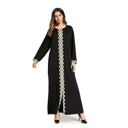 Yhjklm Elegante Vestido de Manga Larga de Mujer Vestido de Vestido árabe cómodo (tamaño :