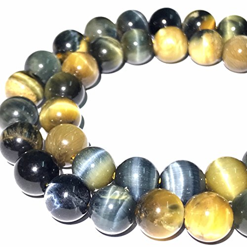 [ABCgems] African Blue Tiger Eye (Beautiful Flash- Exquisite Matrix) Tiny 6mm Smooth Round Beads for Beading & Jewelry Making Blue Tiger Eye Beads