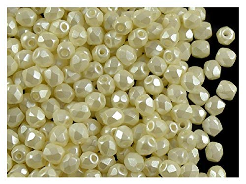 100 Pcs Czech Fire-Polished Faceted Glass Beads Round 3mm Pastel Light Cream (02010/25110)