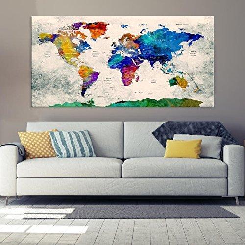 Amazon colorful world map canvas print world map wall art colorful world map canvas print world map wall art framed wall art canvas map gumiabroncs Images