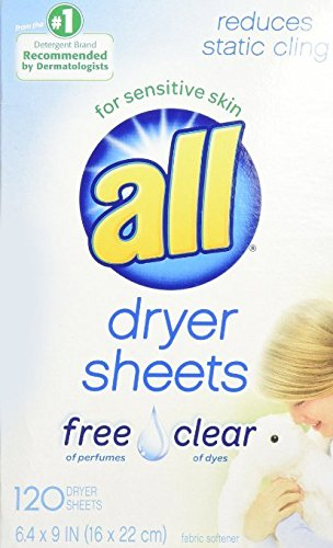 All Fabric Softener Dryer Sheets, Free Clear, 120 Dryer Sheet Count Box (2)