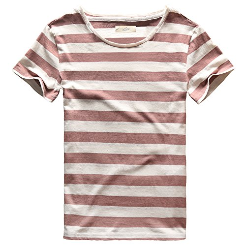 (Zecmos Men T-Shirts Stripes Tshirts Casual Slim Fit Male Striped Tees Purple S)