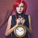 Halloweeen Gold Clock Necklace White Rabbit Clock