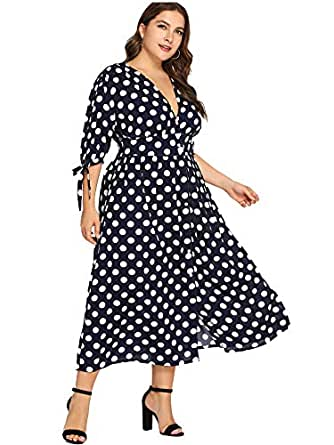 Milumia Women Vintage Button up Dress Ankle Length Homecoming Maxi Dress Party 3 4 Sleeves Polka Dot Blue 0XL
