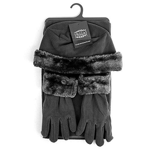 Women's 3 PC Cloche Faux Fur Trim Fleece Hat Scarf & Gloves Winter Set (Dark Gray) - Fur Trim Scarf