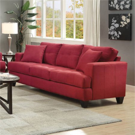 Beautiful Transitional Sofa for Living Room (Crimson)