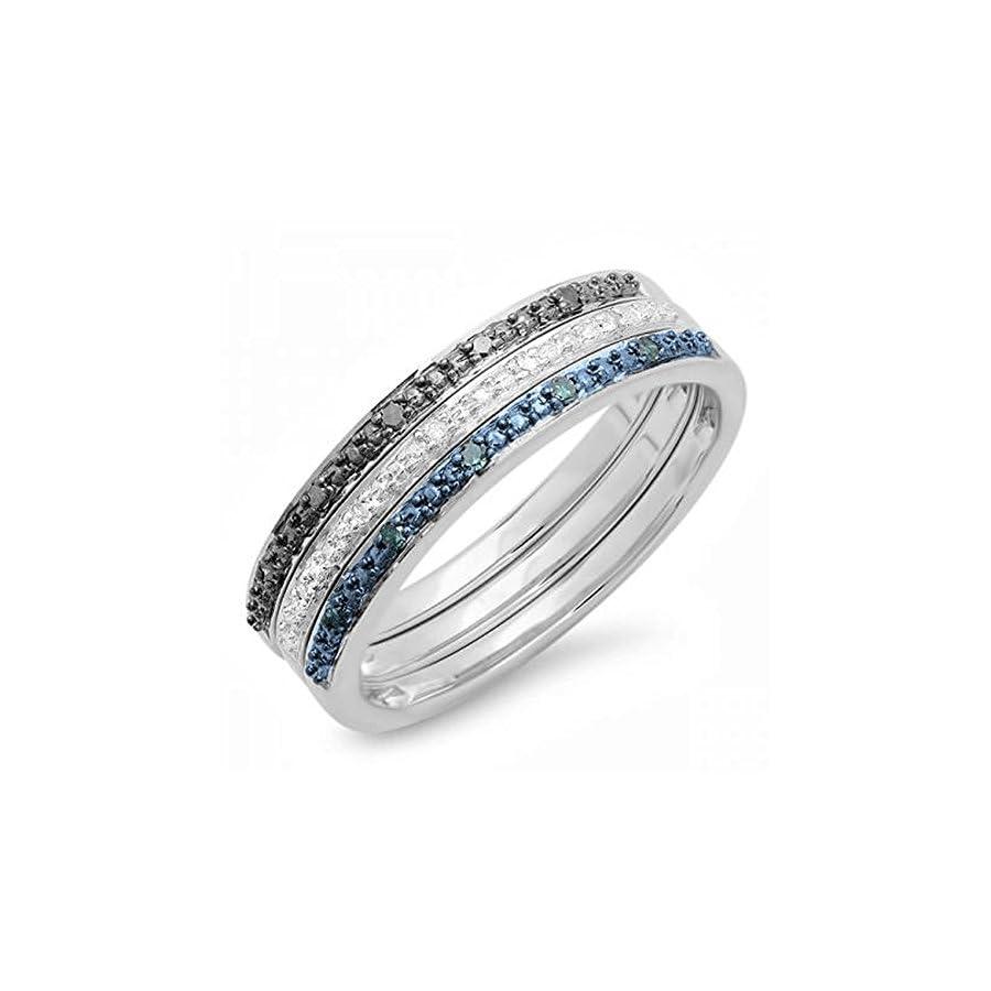 0.10 Carat (ctw) Sterling Silver Round Blue & White Real Diamond Wedding Ring Set 1/10 CT