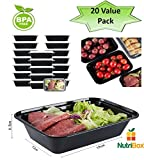 #9: NutriBox [20 Value Pack] single one compartment 24 OZ Meal Prep Plastic Food Storage Containers - BPA Free Reusable Lunch Bento Box - Microwave, Dishwasher and Freezer Safe - For School Work or Trips