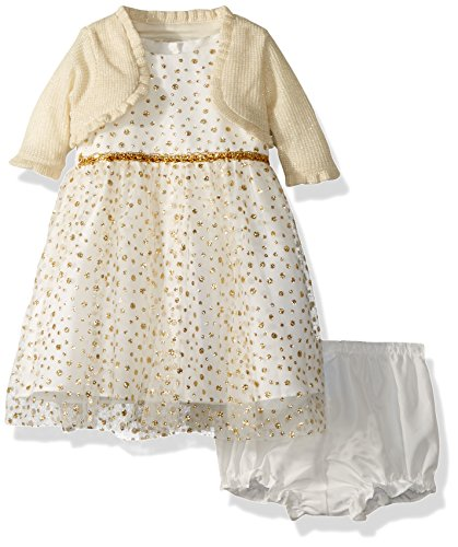 Gold Christmas Holiday Dress - Marmellata Baby Girls Holiday Dress With Sweater, Ivory/Gold, 0-3 Months