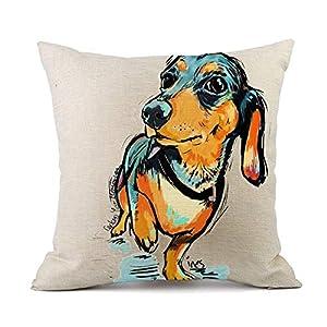 "Redland Art Cute Pet Animal Dachshund Dog Pattern Throw Pillow Covers Cotton Linen Cushion Cover Cases Pillowcases Car Sofa Home Decor 18""x 18""Inch (45 x 45cm) 3"