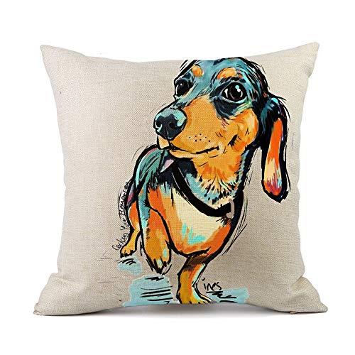 Redland Art Cute Pet Animal Dachshund Dog Pattern Throw Pillow Covers Cotton Linen Cushion Cover Cases Pillowcases Car Sofa Home Decor 18