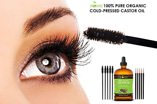 Organic Castor Oil By Sky Organics, Cold-Pressed, 100% Pure, Hexane-Free Castor Oil - Dry Skin, Hair Growth, Eyelashes growth and eyebrows growth- Caster Oil Lash Enhancer with Mascara Brushes (30ml) by Sky Organics (Image #1)