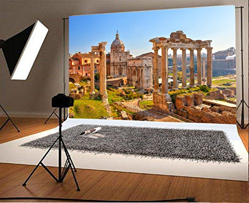 Laeacco 8x6.5ft Vinyl Photography Backdrop Roman Forum and Ruins of Septimius Severus Arch an Landmark Photo Background Children Baby Adults Portraits - Shops Map Forum