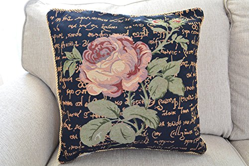 Tache 2 Piece 18 X 18 Inch Black Solitary Rose Throw Pillow Cushion Cover Set (Pillow Needlepoint Shell)