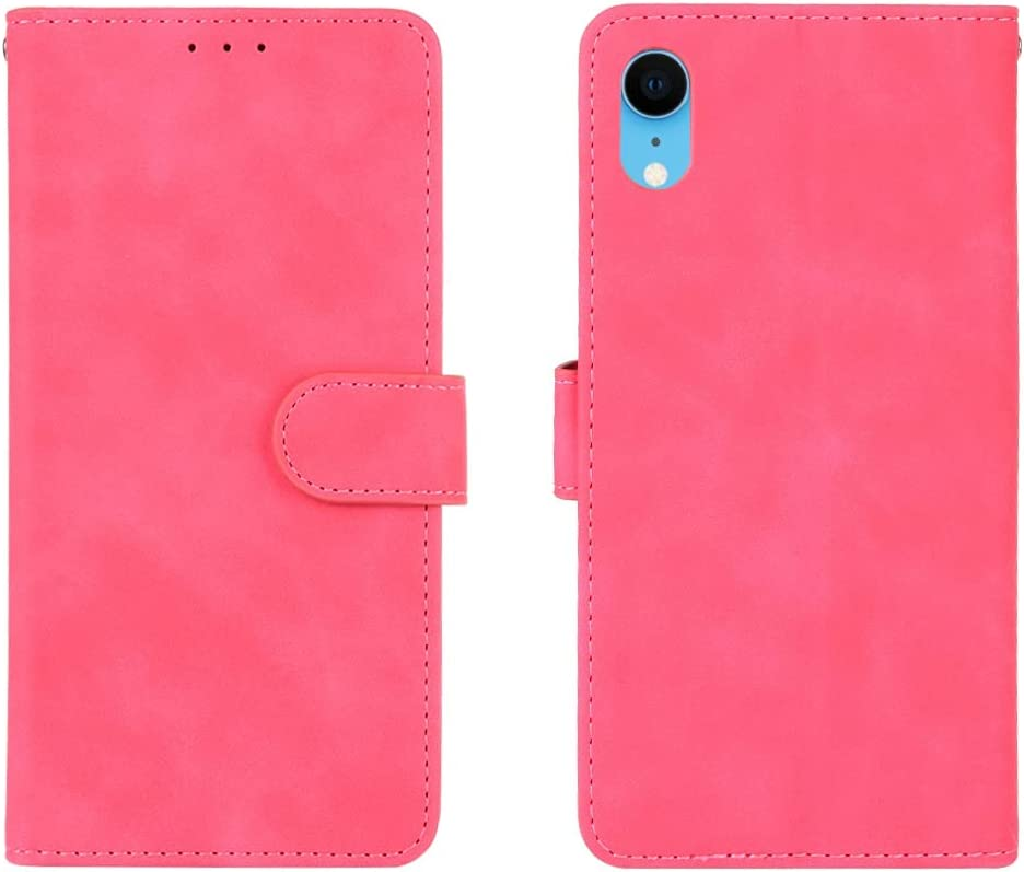 ZENGMING Phone Case Wallet Case for iPhone XR, PU Leather Wallet Case with Credit Card Holder Wrist Strap Shockproof Protective Cover for iPhone XR (Color : Rose red)